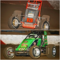 #13 Dennis Gile (top) and #91R Brody Roa (bottom) have been declared the winners of last week's USAC Southwest/West Coast Sprint Car Special Event features at The Dirt Track at Las Vegas Motor Speedway.