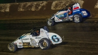 Brady Bacon (#6) & Kevin Thomas Jr. (#9) battle for the lead during the 2019 USAC Silver Crown race at Eldora Speedway.