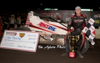 "Chad Boespflug won Sunday night's ""Rock and Roll Gold Cup"" USAC AMSOIL Sprint Car ""Special Event"" at Badlands Motor Speedway in Brandon, South Dakota."