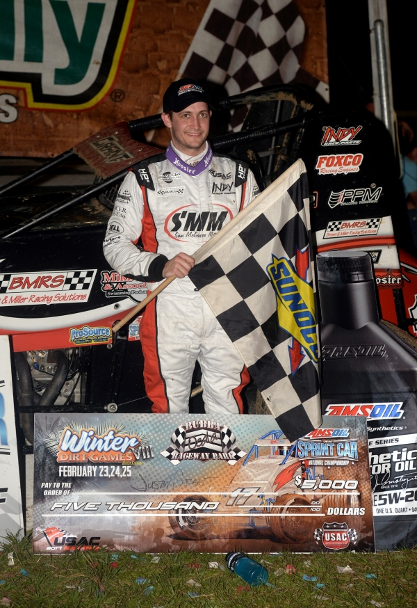 Justin Grant celebrates his season-opening USAC AMSOIL National Sprint Car victory in Ocala, Fla. in February of 2017.