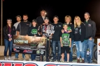 "The Clauson family joins race winner Kevin Thomas, Jr. in victory lane after his win in Friday night's ""Bryan Clauson Celebration of Life"" at Kokomo (Ind.) Speedway."