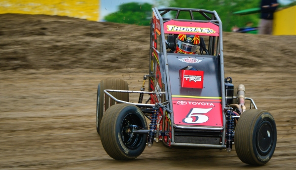 #5 Kevin Thomas Jr., two-time USAC NOS Energy Drink National Midget winner at Kokomo (Ind.) Speedway.