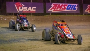 Brady Bacon (#69) won twice from the 9th position in USAC AMSOIL National Sprint Car competition at Ocala in February.