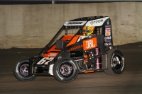 "Tanner Thorson drives to victory in Thursday night's ""Gold Crown Midget Nationals"" opener at Tri-City Speedway in Granite City, Illinois."