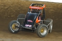 Jason McDougal of Broken Arrow, Okla. won his first career USAC AMSOIL National Sprint Car race Saturday night at Federated Auto Parts Raceway at I-55.