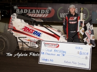 "Hanford, California's Chad Boespflug won Saturday's USAC AMSOIL Sprint Car preliminary night of the inaugural ""Rock and Roll Gold Cup"" at Badlands Motor Speedway in Brandon, SD."