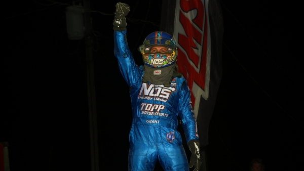 Justin Grant celebrates Saturday's USAC AMSOIL National Sprint Car victory at 34 Raceway.