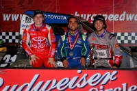 Lawrenceburg winner Rico Abreu is flanked by teammates Tanner Thorson (Left - 2nd) and Holly Shelton (3rd) in victory lane.