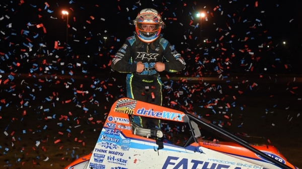 Brady Bacon earned his series-leading fifth USAC AMSOIL National Sprint Car victory of the year Saturday night in the second feature at Lincoln Park Speedway in Putnamville, Ind.