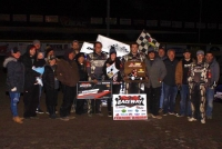 Gage Robb celebrates his USAC Winged Outlaw Sprint win last Saturday at Port City.