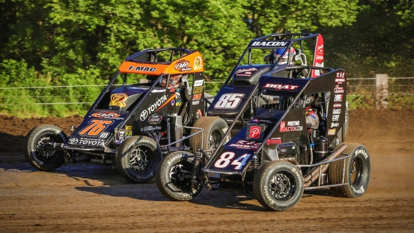USAC NOS Energy Drink National Midget in July of 2019 at Jefferson County Speedway in Fairbury, Neb.