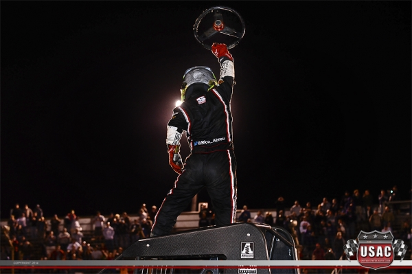 "Rico Abreu celebrates his ""Kokomo Grand Prix"" win."