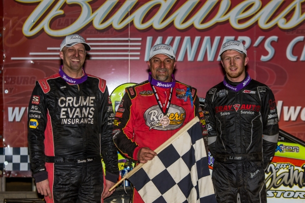 Dave Darland was joined by C.J. Leary (right) and Scotty Weir (left) on Saturday's podium at Lawrenceburg Speedway.