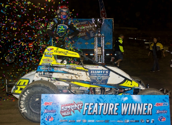 "Brady Bacon picked up the opening night victory of NOS Energy ""Indiana Sprint Week"" Friday night at Plymouth Speedway."