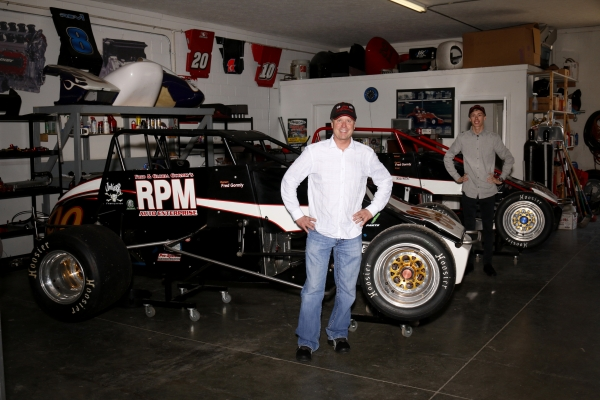 "Davey Hamilton, Sr. and Davey Hamilton, Jr. pose in front of their Silver Crown rides for the April 29th ""Phoenix Copper Cup"" at Phoenix International Raceway."