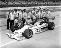 Rolla Vollstedt and Janet Guthrie pose after qualifying for the 1977 Indianapolis 500.