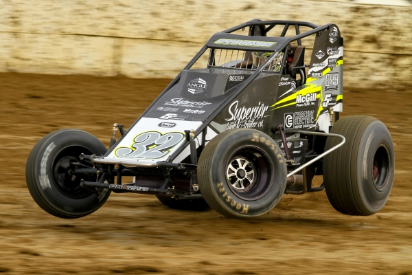 Up on one wheel! Chase Stockon set fast time and won his heat in the last appearance by the USAC AMSOIL National Sprint Cars at Plymouth (Ind.) Speedway in 2017.