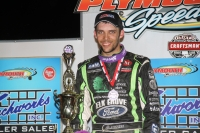 Bryan Clauson celebrates one of his 112 career USAC wins (5th all-time) in May 2016 after his USAC Indiana Midget Championship victory at Plymouth (Ind.) Speedway.