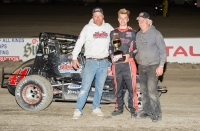 Adam Lemke won Saturday's USAC Speed2 Western US Midget feature at The Dirt Track at Kern County Raceway Park in Bakersfield, Cal.