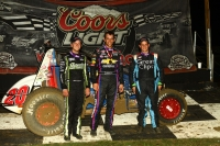 Winner Bryan Clauson is joined by Justin Grant and Chase Stockon on the Bubba Raceway Park podium.
