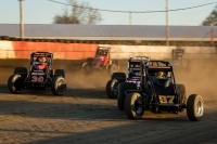 "Tyler Courtney leads the pack during the 2018 running of the ""Sumar Classic"" at the Terre Haute (Ind.) Action Track."