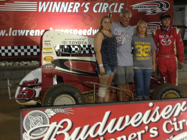 The Daum family enjoys Lawrenceburg Speedway victory lane after Zach's second-career USAC Honda National Midget win.