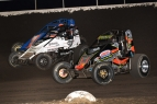 Three-wide during the 2017 Indiana Sprint Week round at Tri-State Speedway in Haubstadt, Indiana.