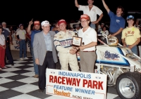 Greg Staab celebrates his USAC National Sprint Car victory in 1988 at Indianapolis Raceway Park.