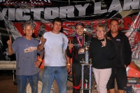 "Chris Windom and the Baldwin crew in ""Western World"" victory lane in 2016 at Arizona Speedway."