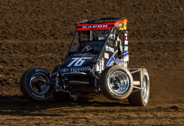 "Brady Bacon captured night one of the ""Kokomo Grand Prix"" Saturday night at Kokomo (Ind.) Speedway, the site of his first career USAC National Midget victory in 2006."
