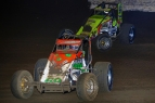"Brady Bacon and Dave Darland battle for position during the 2016 ""Oval Nationals"" at Perris."