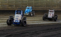 #17 Nick Bilbee leads #18 Jarett Andretti and #98 Chad Boespflug in action last Saturday at Knoxville Raceway.
