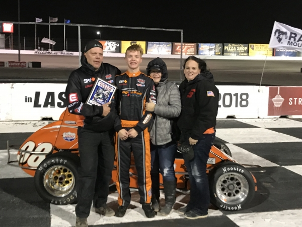 Adam Lemke poses after winning at Las Vegas.