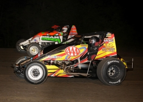 Scotty Weir (inside) and Brady Bacon run side-by-side during Friday night's USAC AMSOIL National Sprint Car feature at Gas City (Ind.) I-69 Speedway.