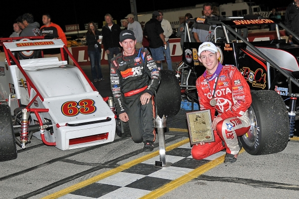 "Swansons went 1-2 in Saturday's Traxxas Silver Crown ""J.D. Byrider 100"" as Tanner (right) won over Kody."