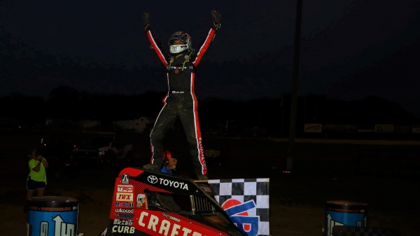 Tanner Carrick (Lincoln, Calif.) celebrates his first career USAC NOS Energy Drink National Midget victory Sunday night at Missouri's Sweet Springs Motorsports Complex.