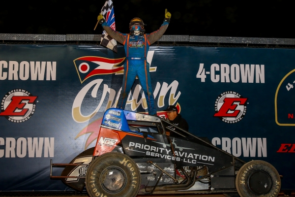"Tyler Courtney was victorious in the USAC AMSOIL National Sprint Car portion of the ""4-Crown Nationals"" Saturday night at Eldora Speedway."