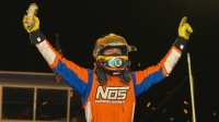 Tyler Courtney celebrates Wednesday's NOS Energy Drink Indiana Sprint Week victory at the Terre Haute Action Track.