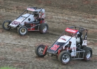 #56 Mitchell Davis battles USAC IMRA Midget point leader #31 Jeff Mallonee.