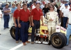 Walter Knepper (second from left in red) pictured after one of his many feature victories with driver Rich Vogler.