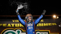 Justin Grant (Ione, Calif.) celebrates his USAC AMSOIL National Sprint Car victory Friday night at Bubba Raceway Park.