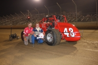 "Ricky Nix (left) poaes with driver Johnny Parsons prior to the 2007 ""Ted Horn 200"" at the DuQuoin (Ill.) State Fair."