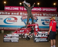 Joey Biasi celebrates his win at Big Diamond