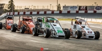 The Speed2 USAC Western US Midget Series in action at Madera (Calif.) Speedway earlier this season.