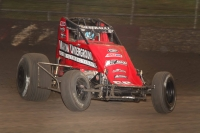 Thomas Meseraull won Sunday night's USAC AMSOIL National Sprint Car feature at Lakeside Speedway in Kansas City, Kansas.