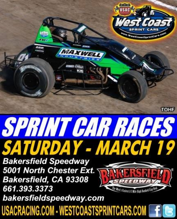 BAKERSFIELD SPEEDWAY WELCOMES WEST COAST SPRINTS SATURDAY; JOHNSON RECORDS WIN #1, RAIN ALSO PREVAILS AT TULARE