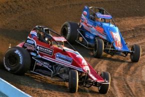 #3c Kyle Cummins and #10 Aric Gentry tussle at Tri-State Speedway.