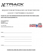 BETTENHAUSEN 100 TICKET REFUND INFO