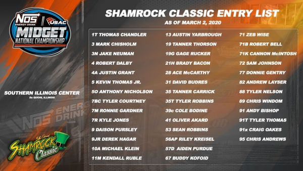 SHAMROCK CLASSIC ENTRY LIST RISES TO 40