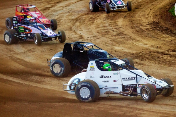 The Klatt No. 6 leads the field at Terre Haute in 2017. Brady Bacon (dirt) and Kyle Hamilton (pavement) will split duties in the car on the USAC Silver Crown trail in 2018.